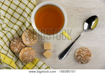 Honey-cake On Napkin, Lumpy Sugar, Teaspoon And Tea