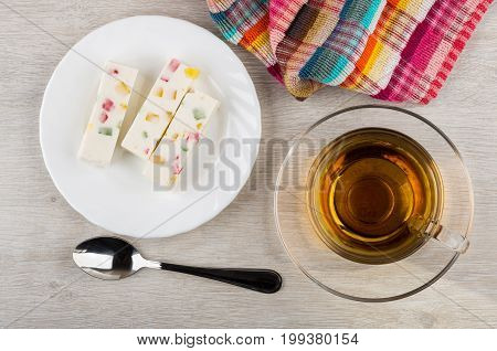 Pastila With Pieces Of Marmalade In Plate, Tea, Napkin