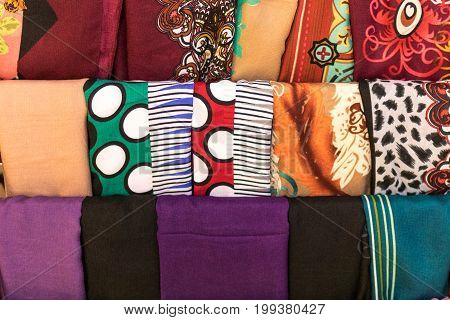 Closeup Of Colorful Scarves Hanging In The Market. Shallow Deep Of Focus. Bali Island.