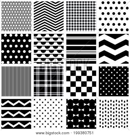 16 black and white seamless patterns for digital paper, scrapbooking, cards, invitations, gift wrap, backgrounds, borders and more.