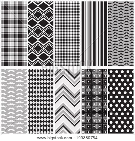 10 seamless patterns in black and grey. File includes: mustache patterns with coordinating plaid, chevron, gingham, stripe, argyle, squares and polka dots.