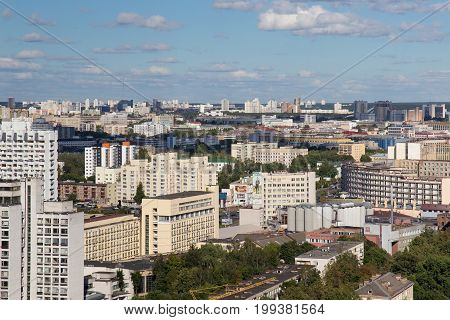 MINSK, BELARUS - AUGUST 15, 2016: Aerial view of the southeastern part of the Minsk with old soviet buildings. Minsk is the capital and largest city of Belarus.