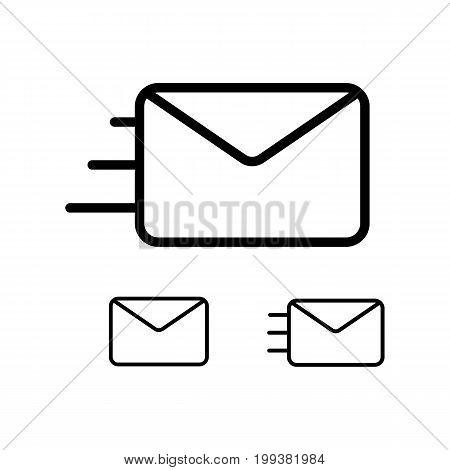 Thin Line Envelope Icons On White Background