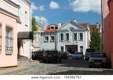 MINSK, BELARUS - AUGUST 01, 2013: The old buildings in the Trinity Hill another name Trinity Suburb or Trojeckaje Pradmiescie. Is the oldest district of Minsk. Is situated near Svislach River.