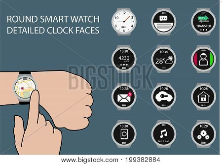 Illustration of finger swiping smart watch display with gesture