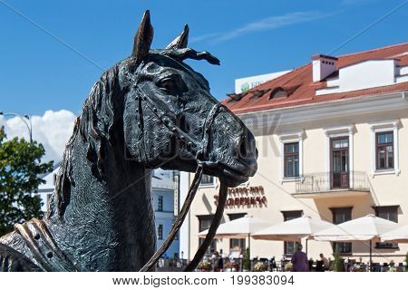 MINSK, BELARUS - AUGUST 01, 2013: Head of horse from city bronze sculpture