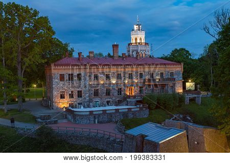 View of new neogothic castle at night in Sigulda. Latvia