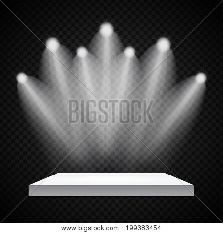 Exhibition Concept, White Empty Shelf  Stand with Illumination on Gray Background. Template for Your Content. 3d Vector Illustration EPS10