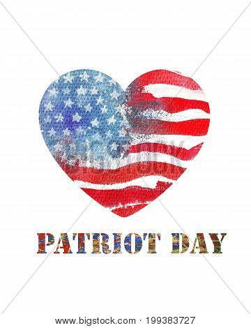 Patriot Day the 11th of september. Watercolor heart shaped american flag. Hand drawn illustration.