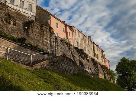 Stairs to Toompea ancient castle, view at sunset. Tallinn, Estonia.