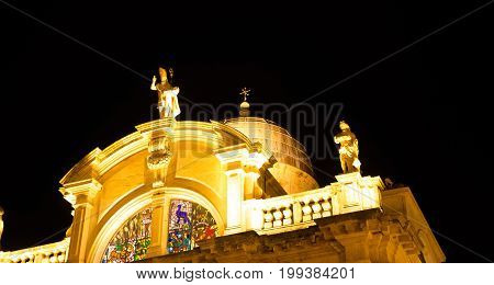 The glow of a church dome at night Dubrovnik