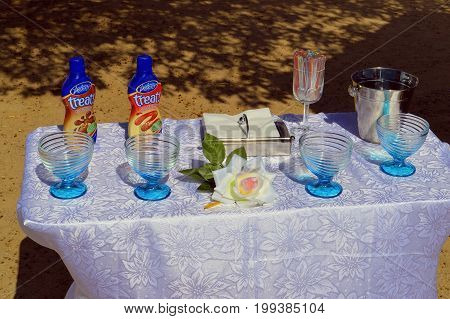 Senhora da Rocha Algarve Portugal - September 27 2014: Milk chocolate and strawberry flavour sauce with glasses on a table for sale