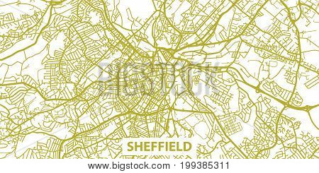 Detailed vector map of Sheffield in gold with title, scale 1:30 000, England, UK