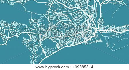 Detailed vector map of Swansea, scale 1:30 000,Wales, UK