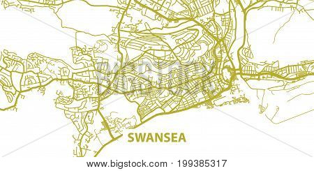 Detailed vector map of Swansea in gold with title, scale 1:30 000, Wales, UK