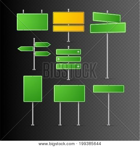 Road sign isolated. Highway traffic green signs. Transportation way information vector isolated plates.