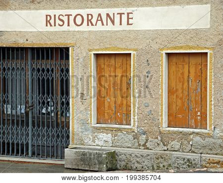 Big Sign With The Italian Text Ristorante Thah Means Restaurant
