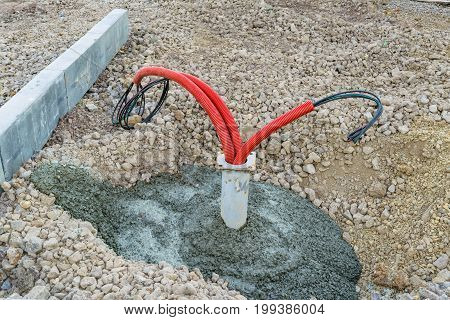 Installation Of Power Cable In Flexible Pvc Pipe
