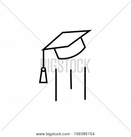 end of education flying mortarboard vector icon