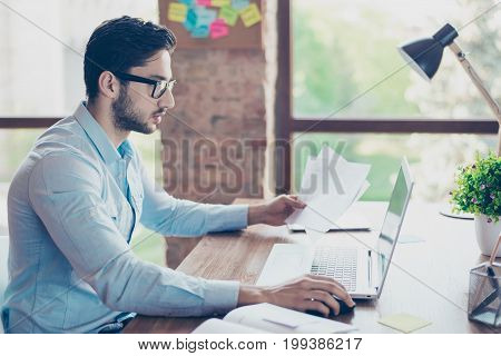 Ponder Young Middle Eastern Handsome Banker Man In Formalwear, Sitting At The Workplace, Looking In