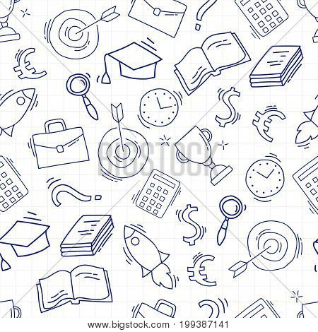 Hand drawn business seamless pattern. Sketch background with icons. Doodle illustration. Wallpaper with elements and objects. Vector illustration. Back to school