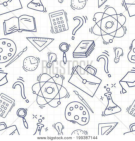 Hand Drawn Study seamless pattern with school accessories. Sketch background with icons. Doodles illustration. Wallpaper with school elements and objects. Back to school.