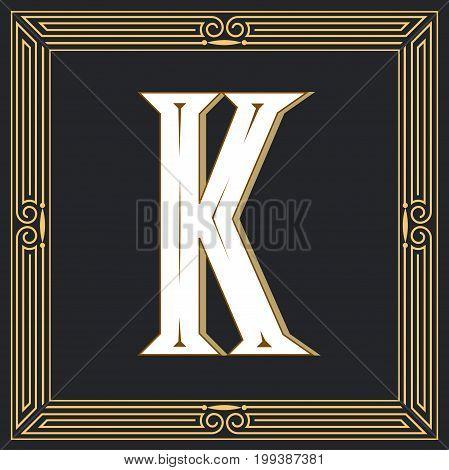 Retro style, western letter design. Letter K