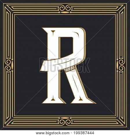 Retro style, western letter design. Letter R