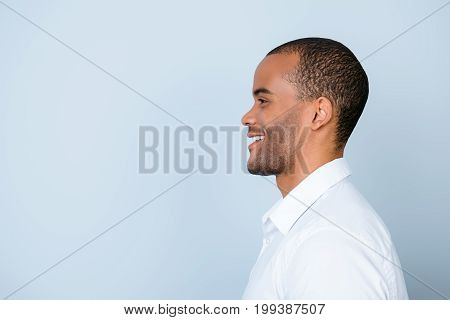 Profile Side Photo Of Smiling Mulatto American Business Guy Standing In White Formal Outfit On Pure