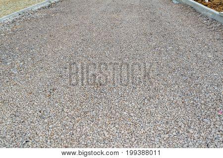 Unfinished Asphalt Country Road. Under Construction.