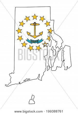Outline map of the state of Rhode Island with map inset