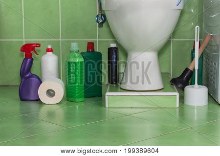 Toilet cleaners. Toilet in the family house. Sales of detergents