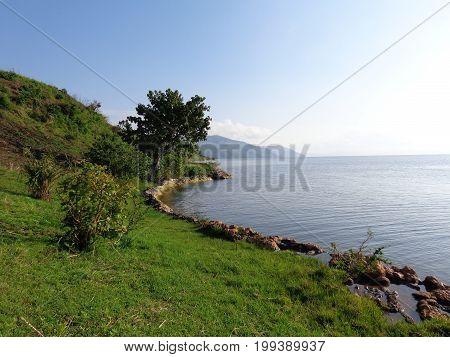 BEAUTIFUL SHORES OF LAKE KIVU IN SOUTH KIVU PROVINCE OF THE DEMOCRATIC REPUBLIC OF CONGO