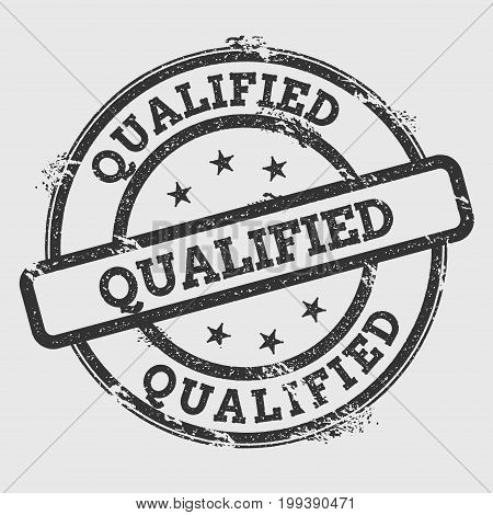 Qualified Rubber Stamp Isolated On White Background. Grunge Round Seal With Text, Ink Texture And Sp