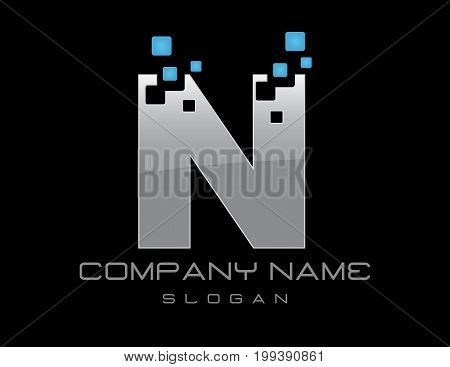Techno letter N on a black background