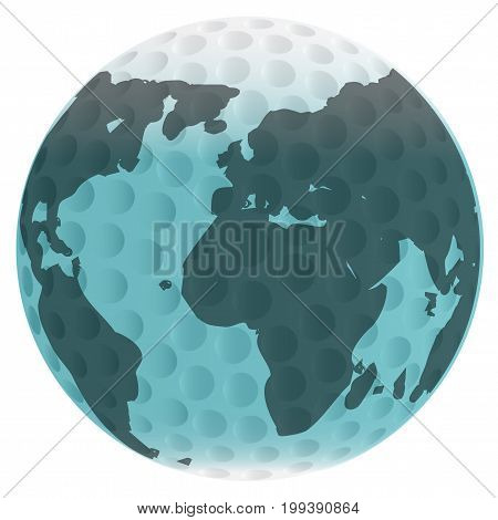 A golf ball and earth map isolated over a white background