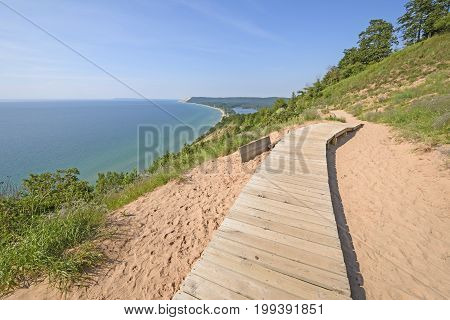 Boardwalk on a Sand Dune Trail in Sleeping Bear Dunes National Lakeshore in Michigan