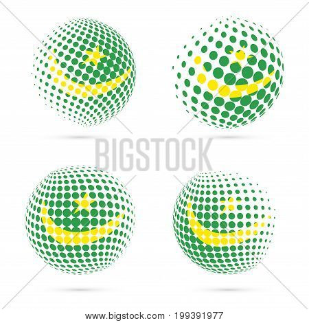 Mauritania Halftone Flag Set Patriotic Vector Design. 3D Halftone Sphere In Mauritania National Flag