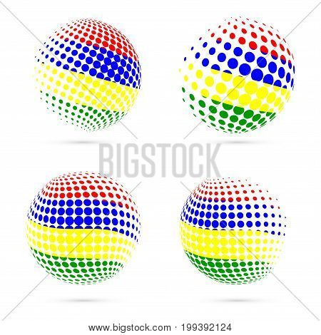 Mauritius Halftone Flag Set Patriotic Vector Design. 3D Halftone Sphere In Mauritius National Flag C