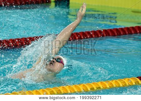 Hong Kong China - Oct 30 2016. Olympian and World Youth gold medalist Peter BERNEK (HUN) swimming in the Men's Backstroke 200m Preliminary Heat. FINA Swimming World Cup Victoria Park