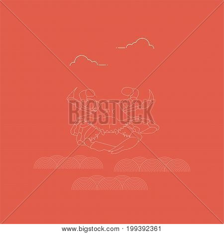 Line Art Styled Vector Illustration: Portunus Pelagicus, also known as the Flower Crab, blue Swimmer or Manna crab or sand crab, Rajungan, and Alimasag.