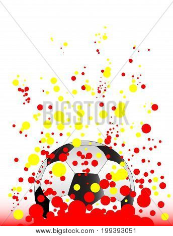 A typical soccer football with a splatter background