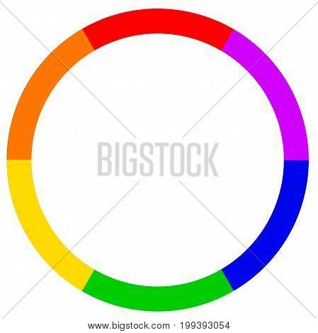 ALGBT circle in rainbow colors over a white background