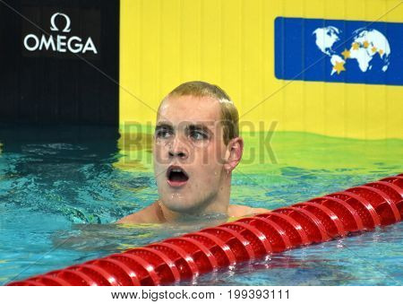 Hong Kong China - Oct 30 2016. Olympian and World Youth gold medalist Peter BERNEK (HUN) after the Men's Backstroke 200m Preliminary Heat. FINA Swimming World Cup Victoria Park