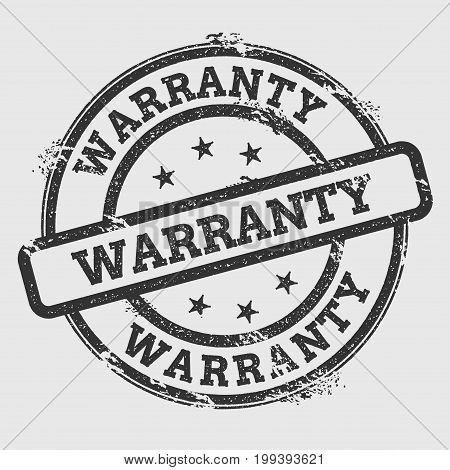 Warranty Rubber Stamp Isolated On White Background. Grunge Round Seal With Text, Ink Texture And Spl