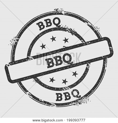 Bbq Rubber Stamp Isolated On White Background. Grunge Round Seal With Text, Ink Texture And Splatter