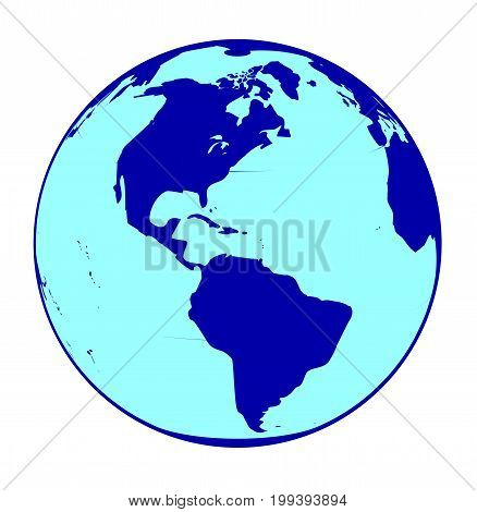 A globe map of the world over a white background