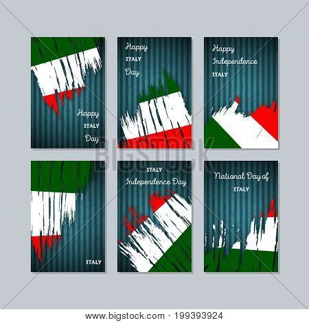 Italy Patriotic Cards For National Day. Expressive Brush Stroke In National Flag Colors On Dark Stri