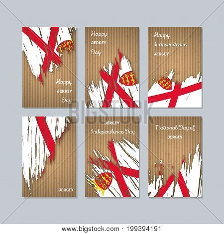 Jersey Patriotic Cards For National Day. Expressive Brush Stroke In National Flag Colors On Kraft Pa
