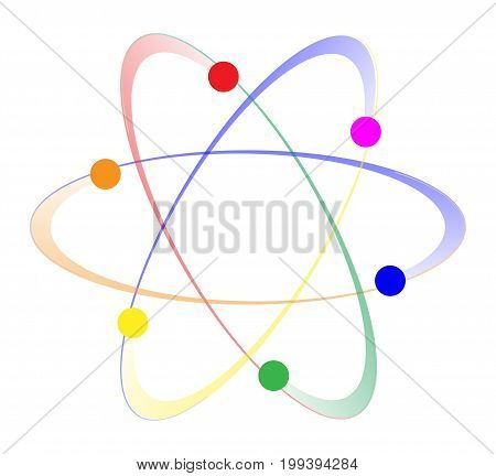 Whirling atoms in the LGBT colours over a white background